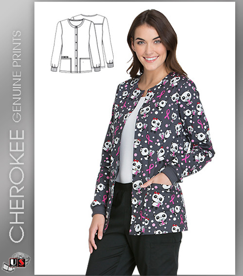 Cherokee Printed Beary Caring Women's Snap Front Warm-Up Jacket