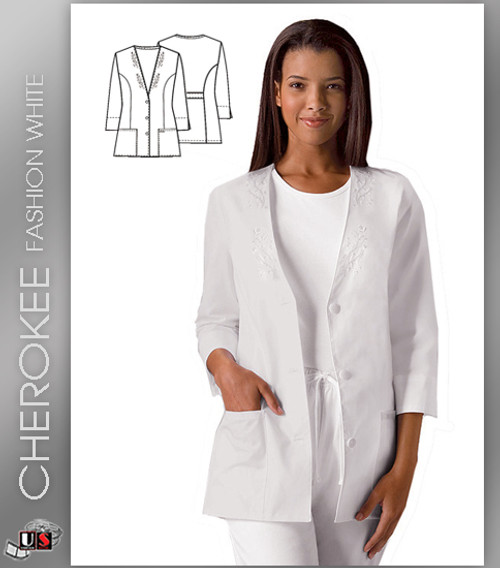 Cherokee Fashion Solid White Women's 3/4 Sleeve Solid Scrub Jacket