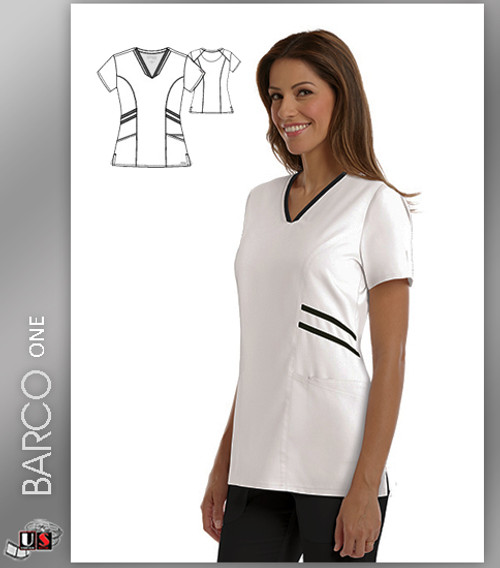 Grey's Anatomy Active Wear 3 Pockets V-Neck Knit Binding - WHB