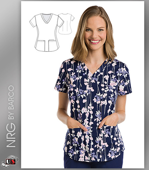 NRG By Barco Falling Petals 3 Pocket V-Neck Print Scrub Top