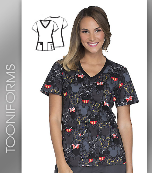 Cherokee Tooniforms Buttons and Bows Women's V-Neck Knit Panel Top