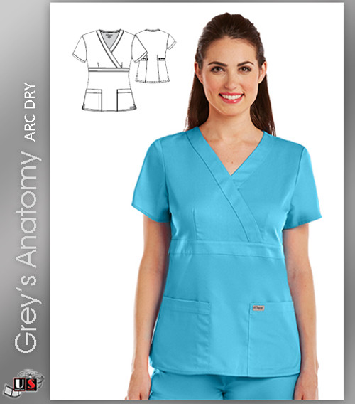 Grey's Anatomy Arc Dry 3 Pocket Mock Wrap Scrub Top