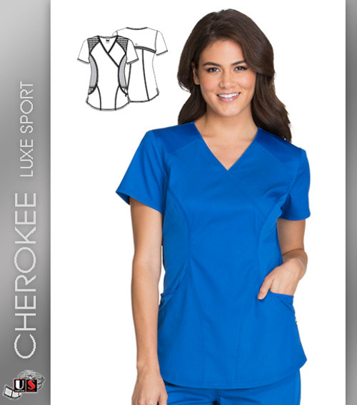Cherokee Luxe Sport Women's V-Neck Short Sleeve Mock Wrap Top