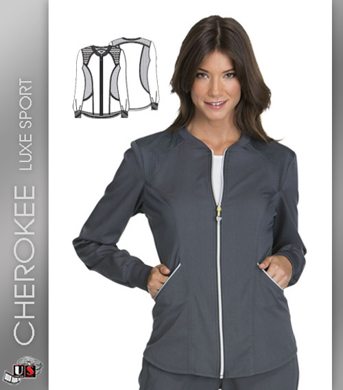Cherokee Luxe Sport Zip Front Women's Crew Long Sleeve Warm-Up Jacket
