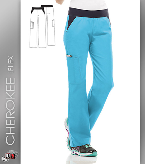 Cherokee Flexibles Women's Mid Rise Moderate Flare Leg Pant
