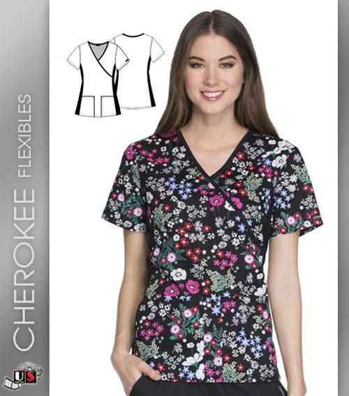 Cherokee Flexibles Blooming Botanicals Women's V-Neck Short Sleeve Top