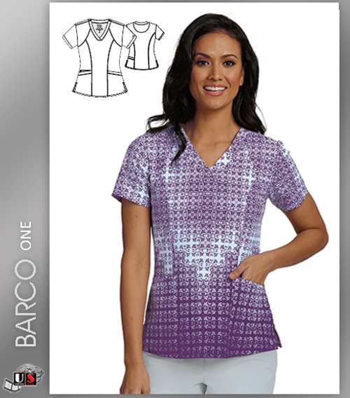 Barco One Deco Tile Wine Print V-Neck Scrub Top