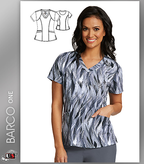 Barco One Silver Feather Print V-Neck Scrub Top