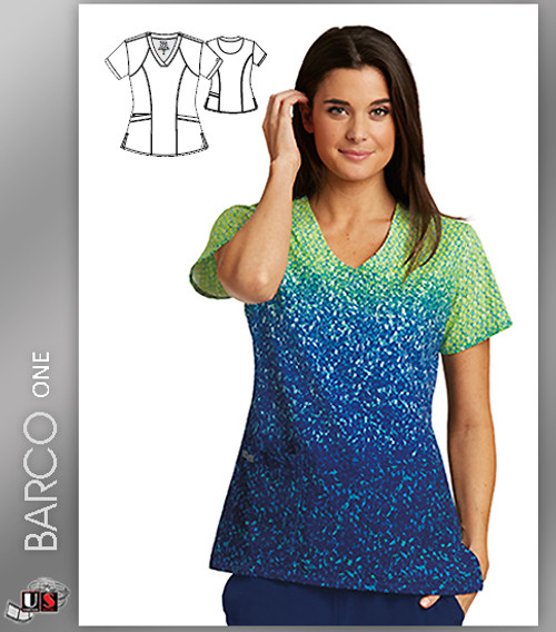 Barco One Go Ombre Print V-Neck Scrub Top