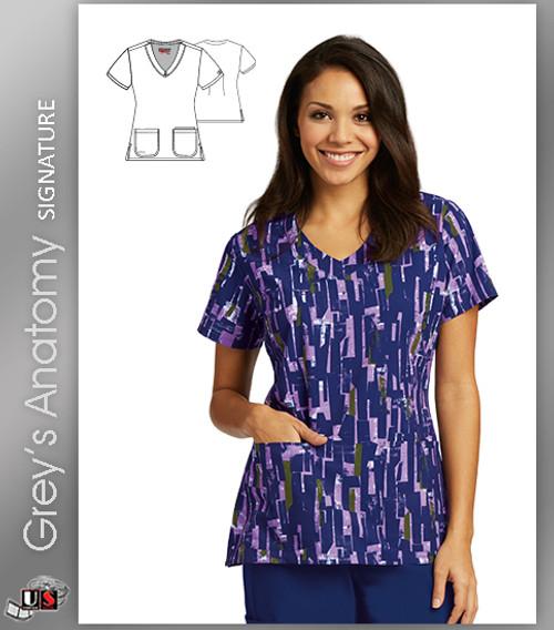 Grey's Anatomy™ Signature Women's V-Neck Abstract Blocks Print Scrub Top