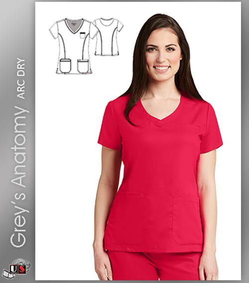 Grey's Anatomy™ Arc Dry Women's Curved V-Neck Solid Scrub Top