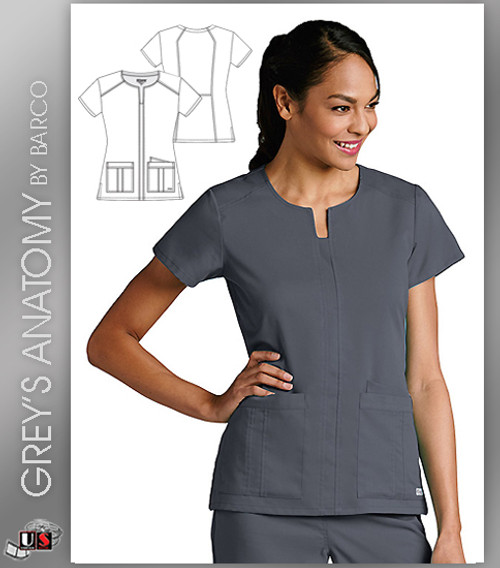 Grey's Anatomy™ Arc Dry Women's Notch Neck Front Panel Solid Scrub Top