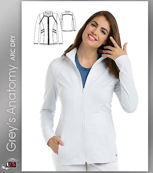 Grey's Anatomy™ Arc Dry Women's Mock Neck Zip Front Scrub Jacket
