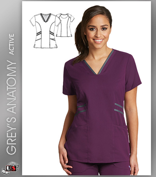 Grey's Anatomy Active Wear 3 Pockets V-Neck Knit Binding - CGR