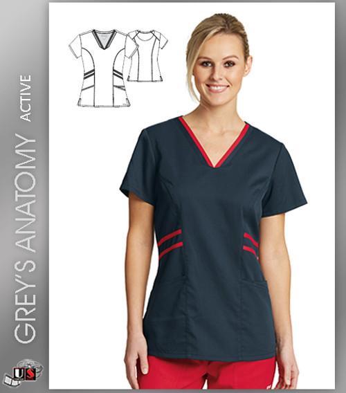 Grey's Anatomy Active Wear 3 Pockets V-Neck Knit Binding - SRE