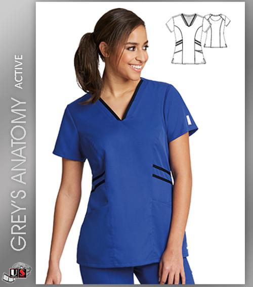 Grey's Anatomy Active Wear 3 Pockets V-Neck Knit Binding - GBL