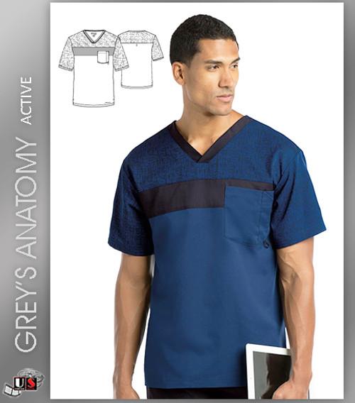 Greys Anatomy Active Mens Color Block V-Neck Top