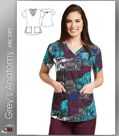 Grey's Anatomy™ Arc Dry Women's V-Neck Print Scrub Top -  Viper Patchwork