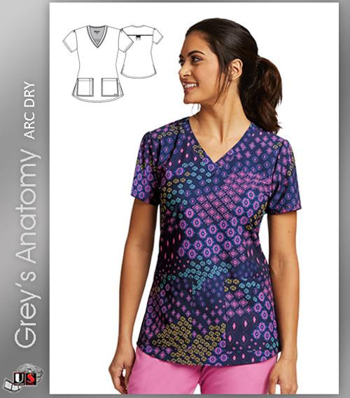 Grey's Anatomy™ Arc Dry Women's V-Neck Print Scrub Top -  Scarf Print