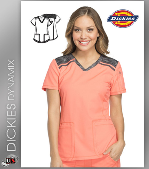 Dickies Dynamix Womens Princess Line V-Neck Top Vibrant Black