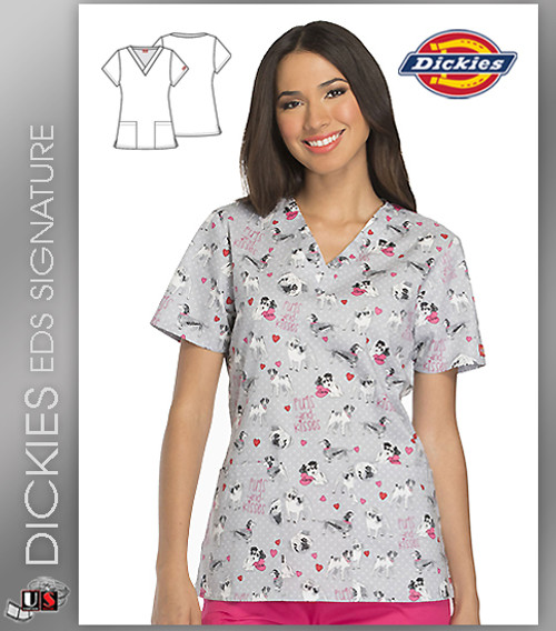 Dickies EDS Pugs and Kisses Print Women's V-Neck Scrub Top