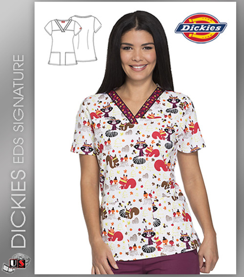 Dickies EDS Thankful Forest Friends Prints V-Neck Top