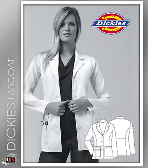 "Dickies 29"" Women's Missy Fit Fashion Notched Collar Lab Coat"