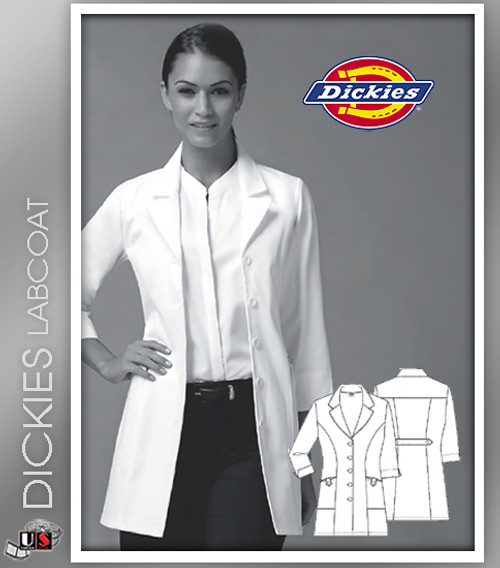 "Dickies 31"" Women's Missy Fit Fashion Notched Collar Lab Coat"
