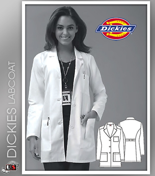 "Dickies 32"" Women's Classic Missy Fit Fashion Notched Collar Lab Coat"
