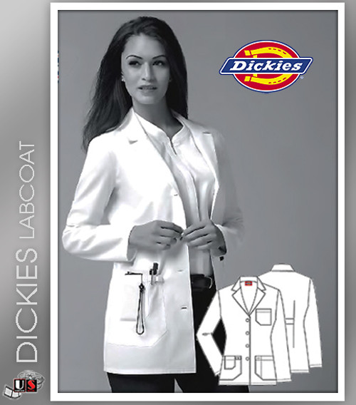 "Dickies 30"" Women's Junior Fit Notch Collar Lab Coats"