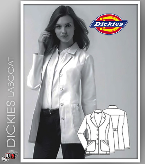 "Dickies 28"" Women's Missy Fit Fashion Notched Collar Lab Coat"