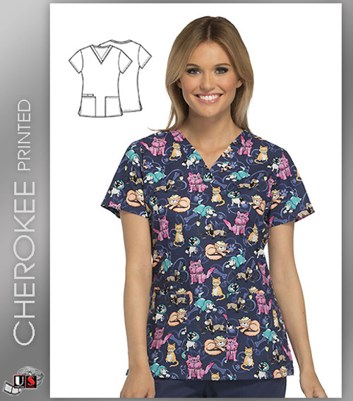 Cherokee Printed A Day At The Vet Women's V-Neck Top
