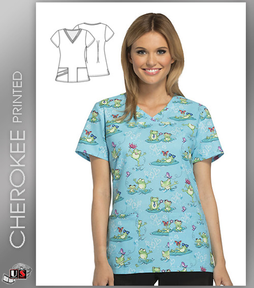 Cherokee Printed Toad-ally Awesome Women's V-Neck Top