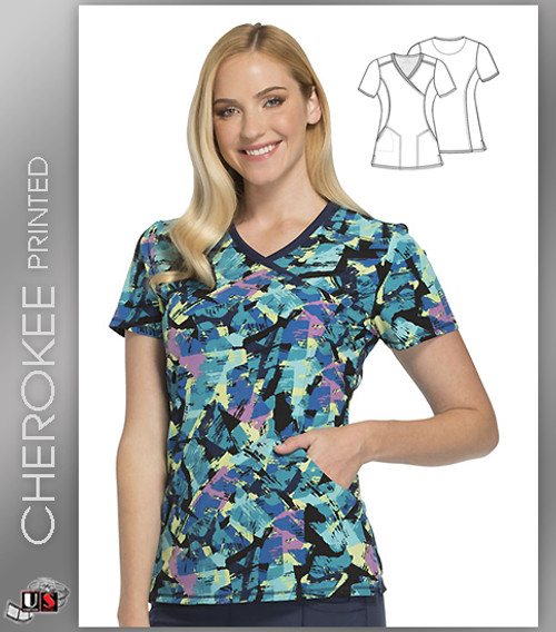 Cherokee Printed Texture Time Women's V-Neck Top