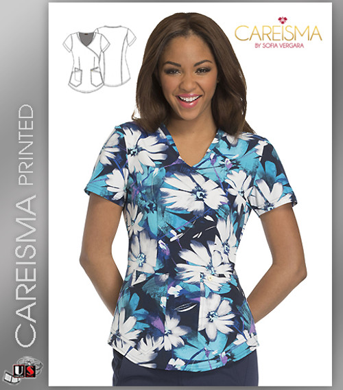 Careisma Printed Light Up The Bloom Women's Mock Wrap Top
