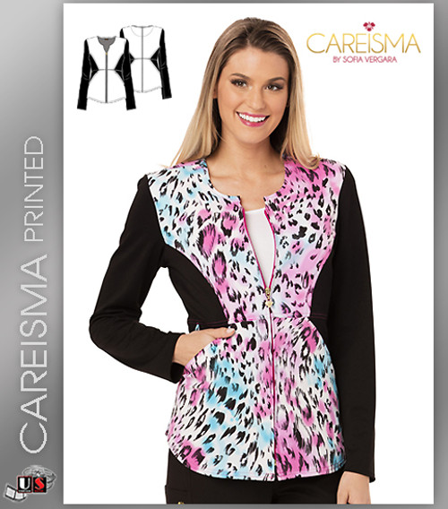 Careisma Printed La Vida Leopard Women's Notched Crew Jacket