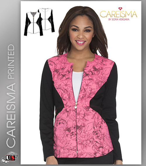 Careisma Printed Flower Fiesta Women's Notched Crew Jacket