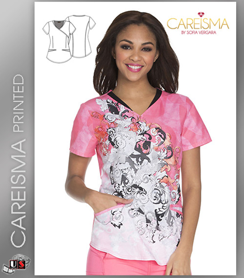 Careisma Printed Let's Take A Scroll Women's Mock Wrap Top