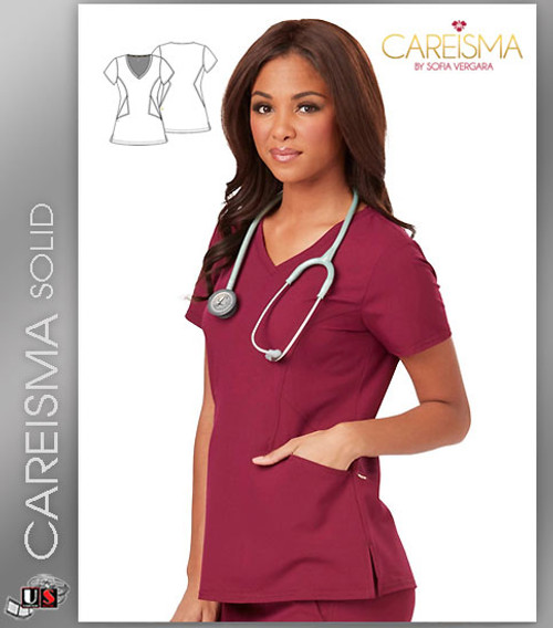 Careisma Women's Solid Short Sleeve V-Neck Top
