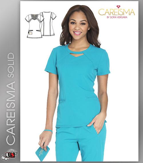 Careisma Women's Solid Round Neck Short Sleeve Top