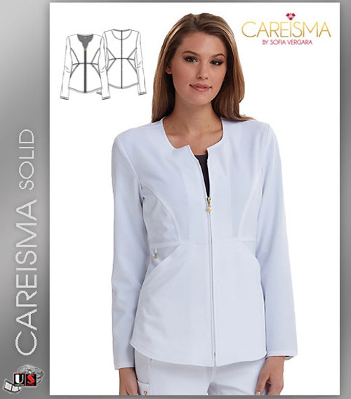 Careisma Women's Solid Notched Crew Zip Front Warm Up Jacket