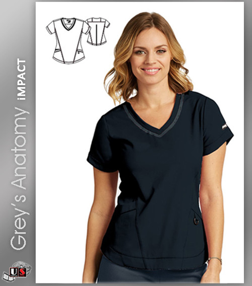Grey's Anatomy™ iMPACT Women's Seamed V-Neck Solid Scrub Top