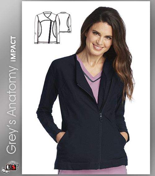 Grey's Anatomy™ iMPACT Women's Asymmetric Zip Solid Scrub Jacket