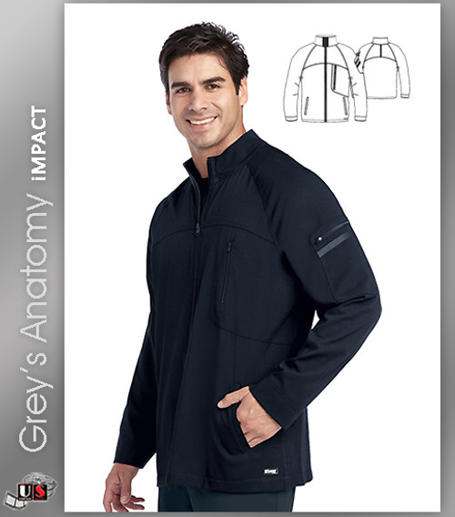 Grey's Anatomy™ iMPACT Men's Ascent Zip Front Solid Scrub Jacket