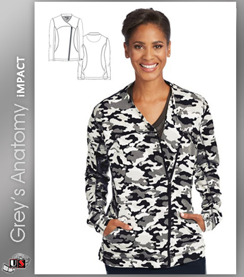 Grey's Anatomy™ iMPACT Women's Asymmetric Zip Camo Print Scrub Jacket