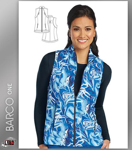 Barco One™ Women's Stand Collar Zip Front Blue Ocean Print Scrub Vest