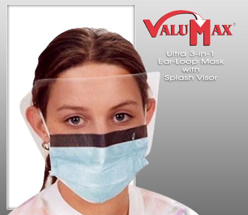 ValuMax Ultra 3-in-1 Ear-Loop Mask with Splash Visor  ( 25 Pcs / Box  )