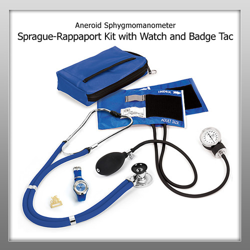 Prestige Aneroid Sphygmomanometer / Sprague-Rappaport Kit with Watch and Badge Tac