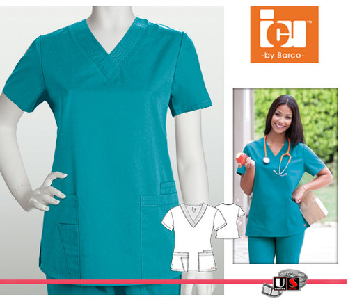 ICU Barco Scrubs 4 Pocket Detail V-Neck