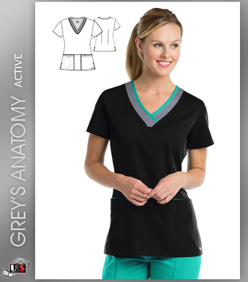 Grey's Anatomy Active 3 Pocket Color Block V-Neck Top